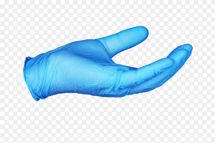 Hand in blue protective glove holding something isolated on transparent background PNG
