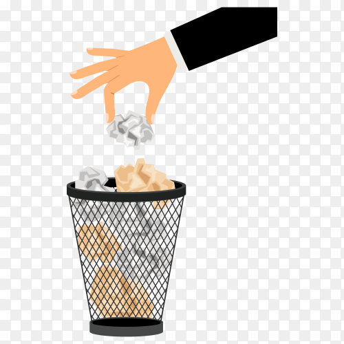 Hand man throw crumpled paper in trash on transparent background PNG