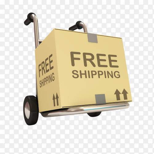 Hand truck with box isolated on transparent background PNG