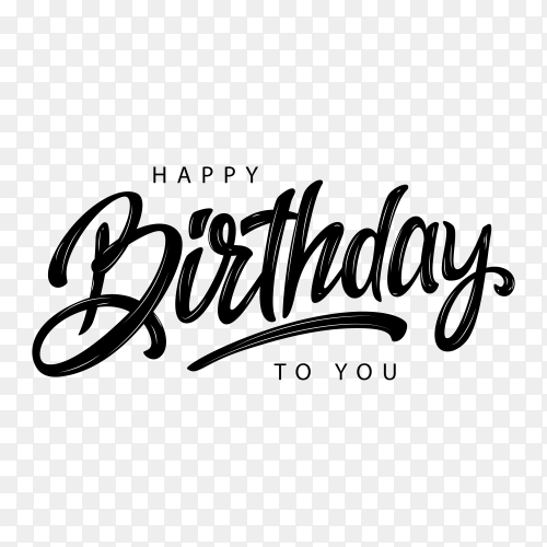 Happy birthday lettering design on transparent background PNG