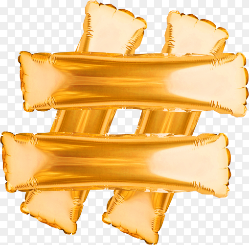 Hashtag sign made from golden balloons isolated on transparent background PNG