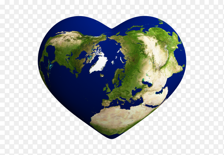 Heart shaped earth with world map isolated on transparent background PNG