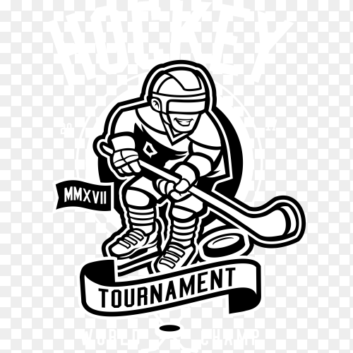 Hockey t-shirt design for commercial use on transparent background PNG