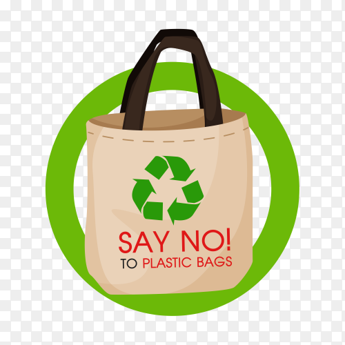 Ideas to reduce pollution Say no to plastic bag on transparent background PNG