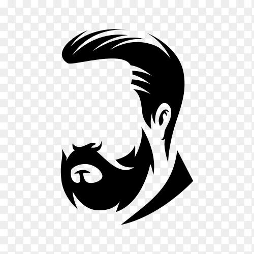 Illustration of Beard barber logo on transparent background PNG