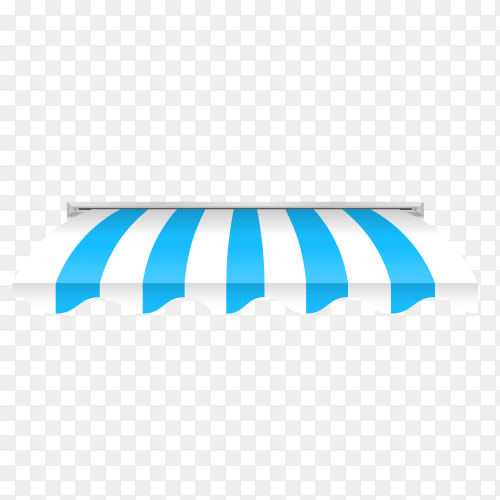 Illustration of awning in blue and white color on transparent background PNG