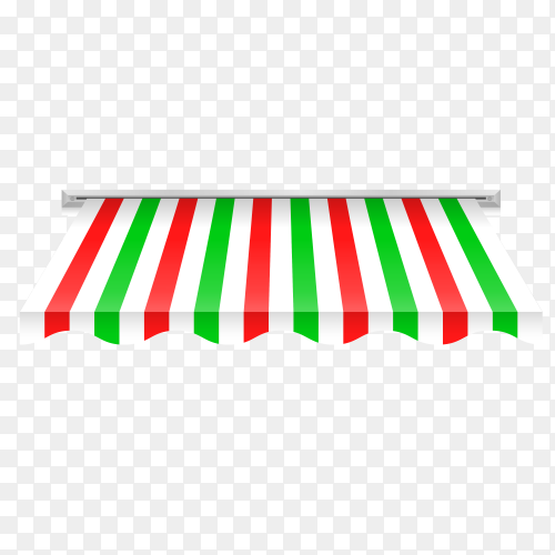 Illustration of awning in green and white color on transparent background PNG