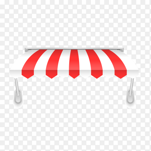 Illustration of awning in red and white color on transparent PNG