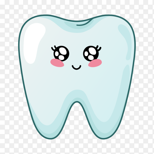 Illustration of cartoon tooth on transparent background PNG