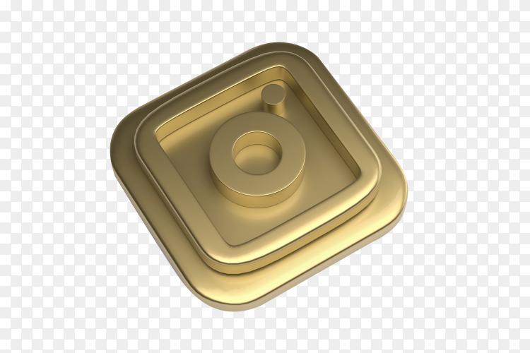Instagram logo 3d gold render on transparent background PNG