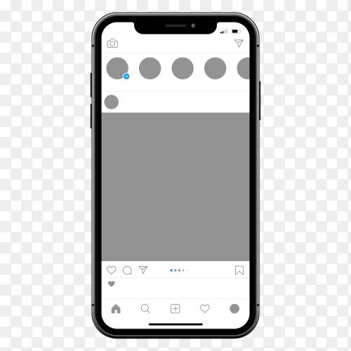Instagram on  mobile phone on transparent background PNG