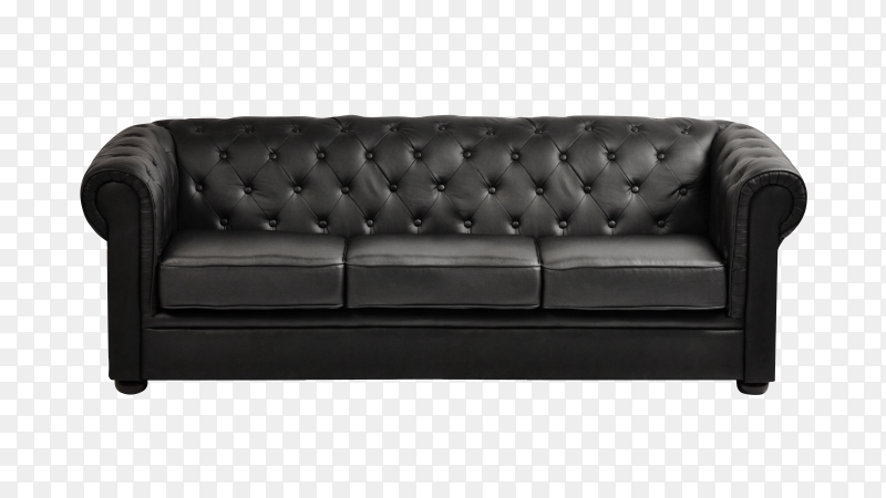 Isolated black sofa on transparent background PNG