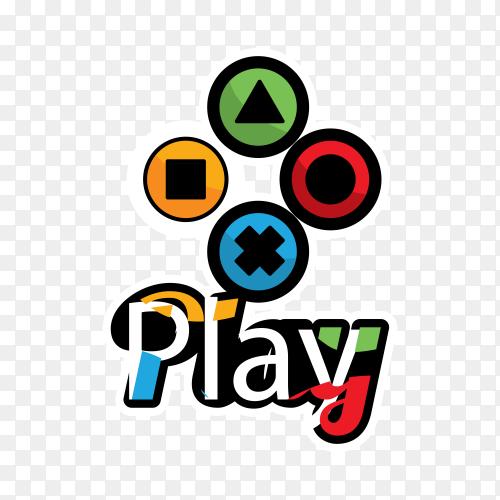 Joystick logo with flat design on transparent background PNG