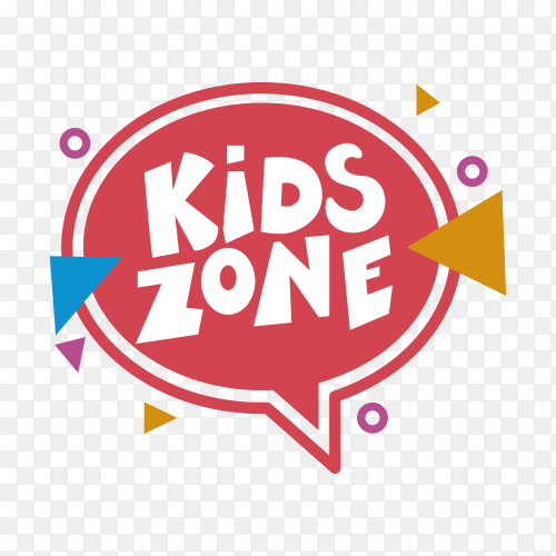 Kids zone poster design template on transparent background PNG