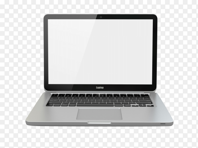 Laptop computer with white screen and keyboard on transparent background PNG