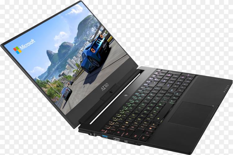 Laptop digital device mock-up design on transparent background PNG