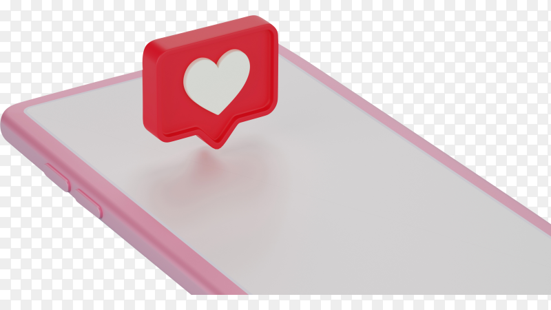 Love notification logo icon over smartphone, 3d rendering on transparent background PNG