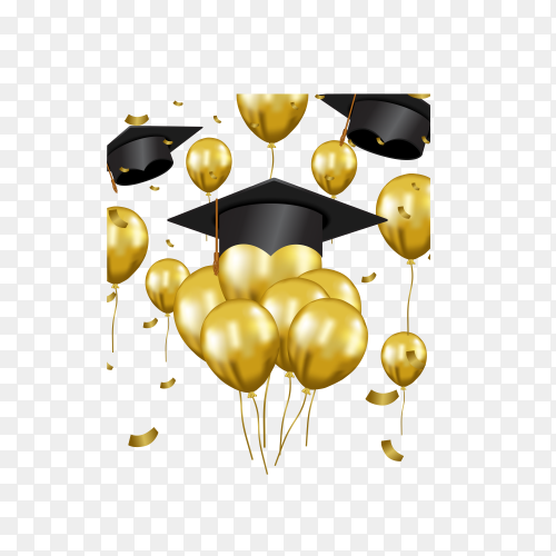 Luxury graduation party invitation with golden flying balloon and hat on transparent background PNG