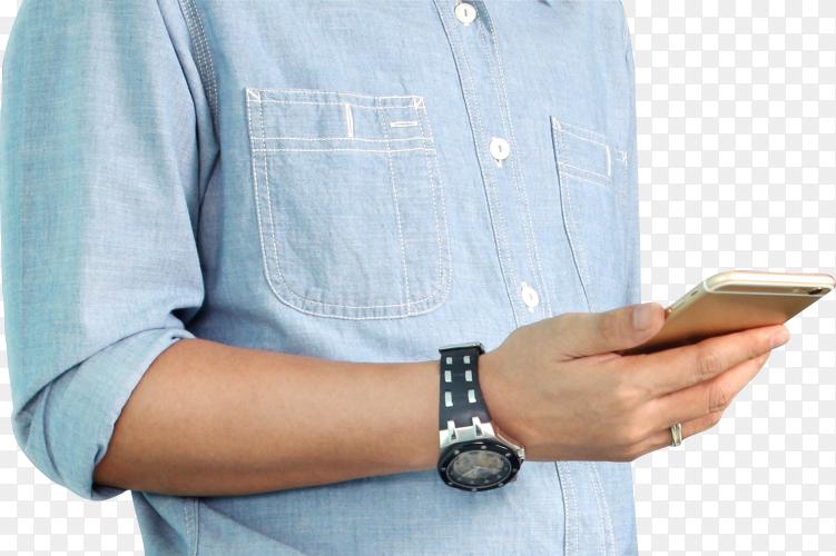 Man holding smart phone on transparent background PNG