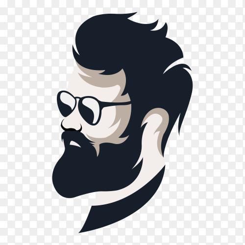 Man with beard vintage barbershop logo templates on transparent background PNG