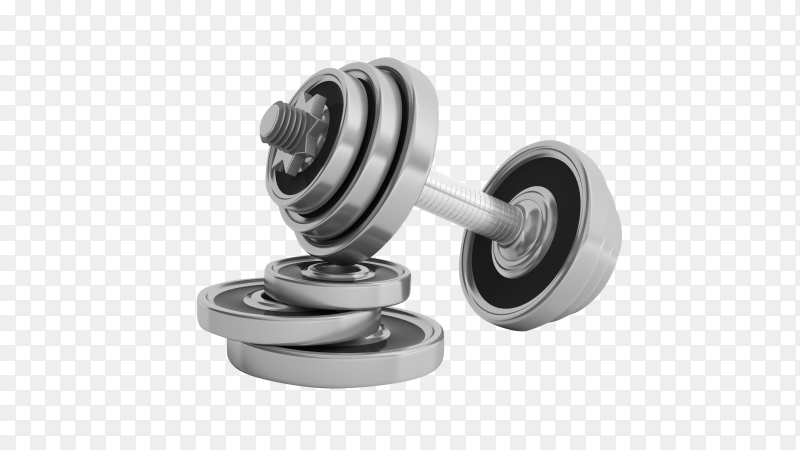 Metal realistic dumbbell on transparent background PNG