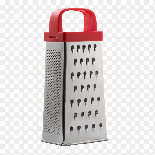 Metallic grater for cheese and other foods (collection of kitchen objects) on transparent background PNG