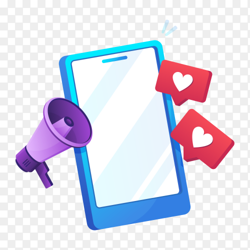 Mobile phone with like sign and megaphone icon in gradient design  on transparent background PNG