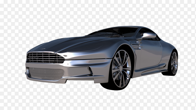 Modern Silver car isolated on transparent background PNG