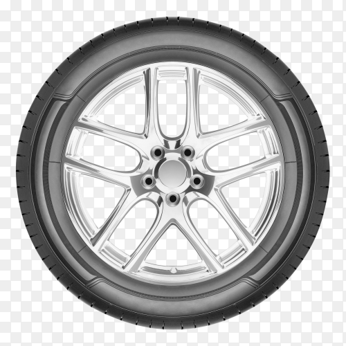 Modern automotive wheel on transparent background PNG