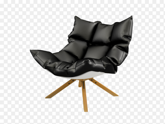Modern black chair isolated on transparent background PNG