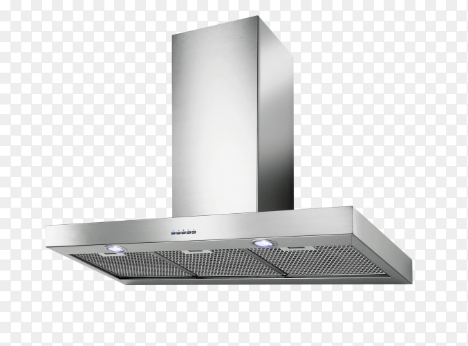 Modern inox cooker hood isolated on transparent background PNG