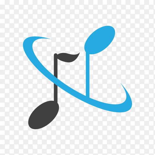 Music logo design template on transparent background PNG