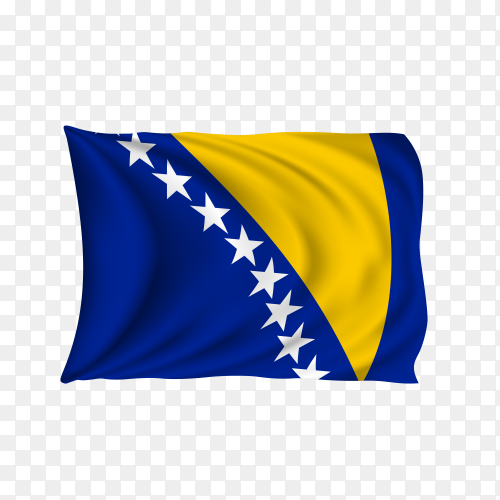 National flag of the Bosnia and Herzegovina on transparent background PNG