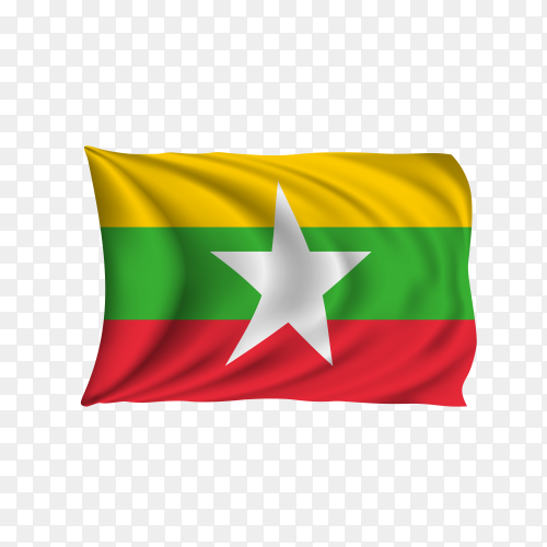 National flag of the Myanmar on transparent background PNG