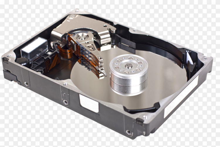 Open hard drive on transparent background PNG