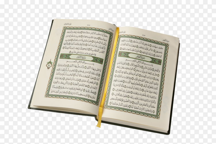 Opened koran book on transparent background PNG