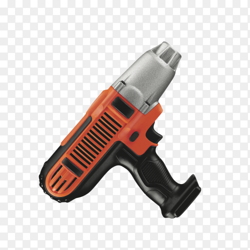 Orange screwdriver or drill isolated on transparent background PNG