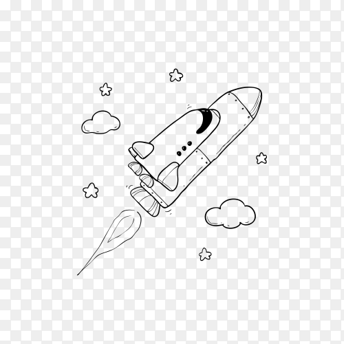 Outer Space Rocket on transparent background PNG