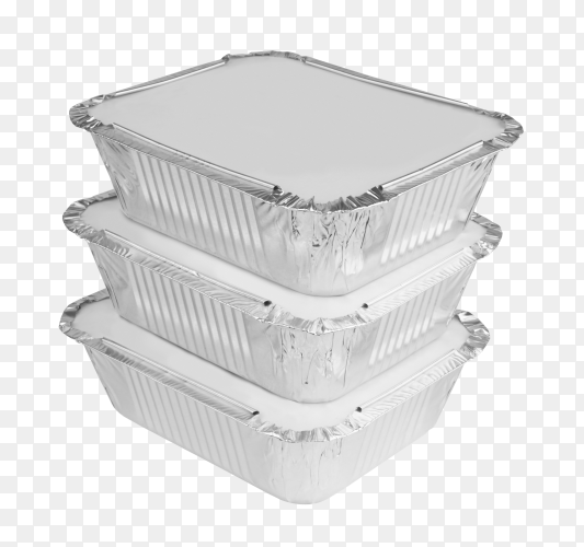 Packed foil food boxes on transparent background PNG