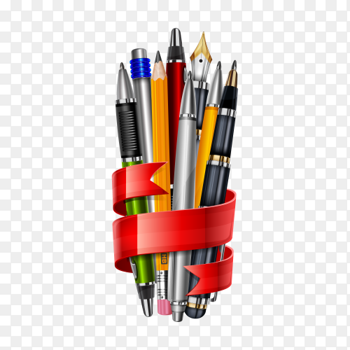 Pens and pencils attached to the red ribbon on transparent background PNG
