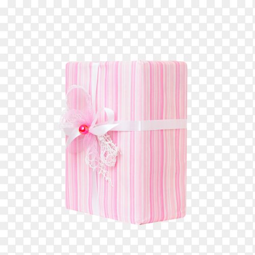Pink gift box isolated on transparent background PNG