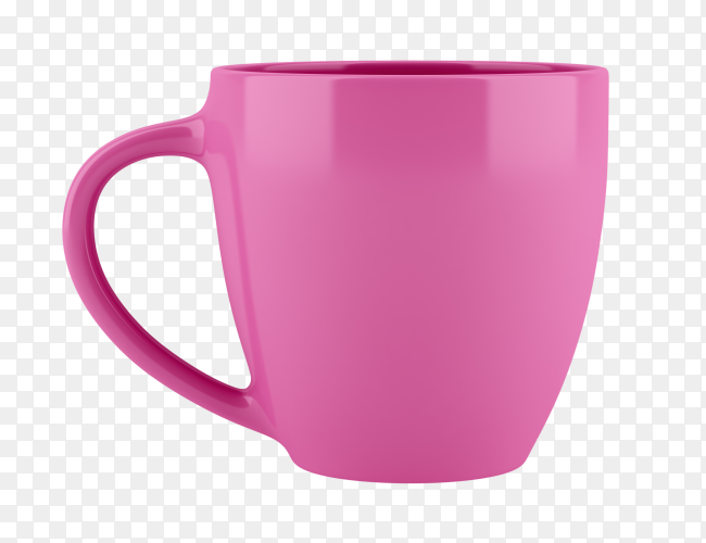 Pink mug on isolated on transparent background PNG