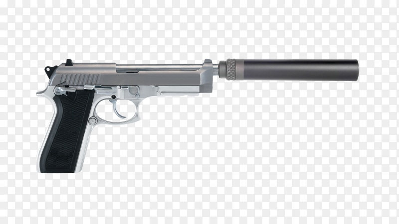 Pistol with a silencer isolated on transparent background PNG