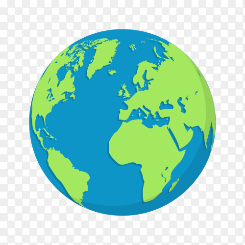 Plant earth globes in flat design on transparent background PNG