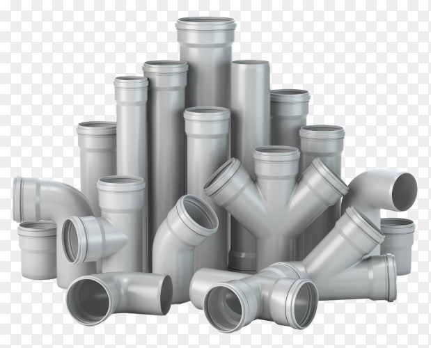 Plastic PVC pipes isolated on transparent background PNG
