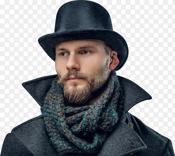 Portrait of an elegant man dressed in a gray jacket and a cylinder hat isolated on transparent background PNG
