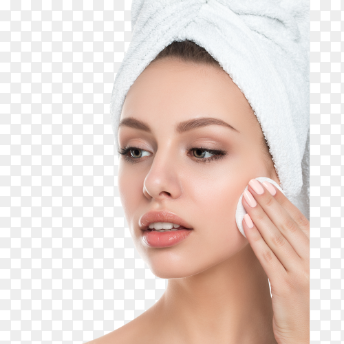 Portrait of young beautiful woman cleaning her face on transparent background PNG