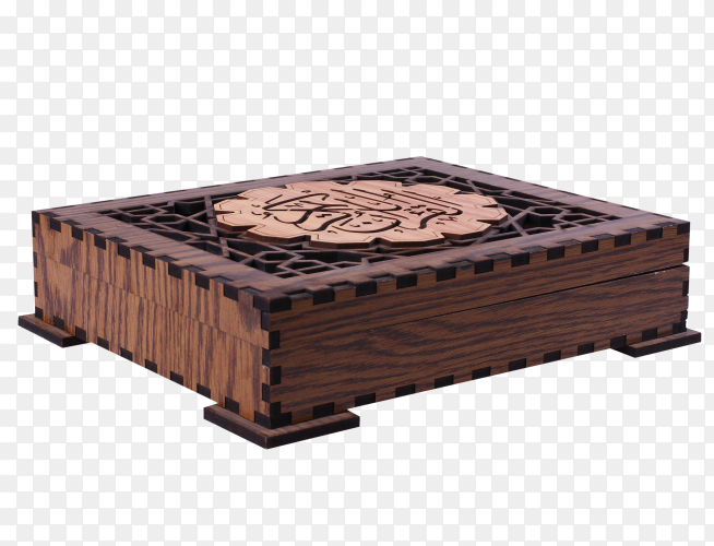 Quran in wooden closed box on transparent background PNG