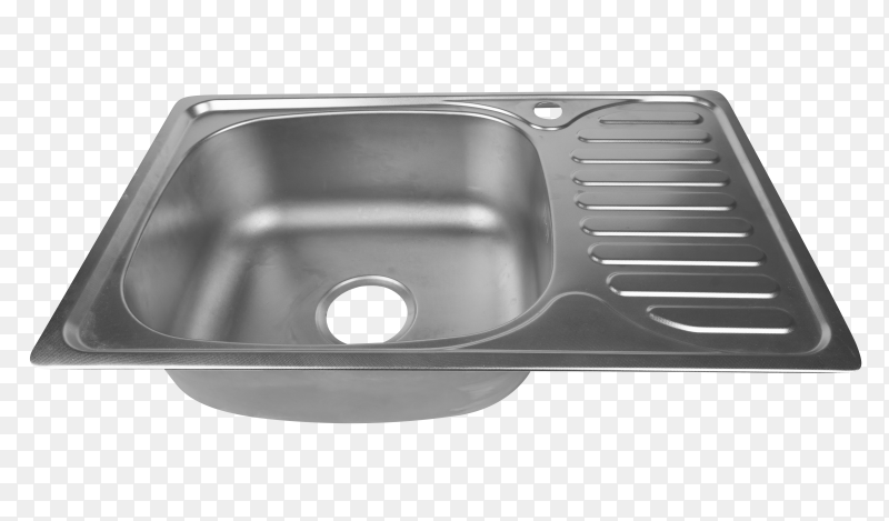 Realistic metal sink isolated on transparent background PNG