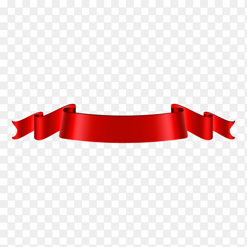 Red Ribbon banner on transparent background PNG